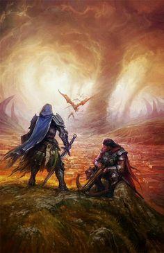 Adventurers overlook fire tornado - Pathfinder PFRPG DND D&D d20 fantasy