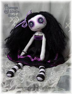 OOAK button-eyed Gothic cloth art doll by Strange Little Girls #GothicDolls #ButtonEyes