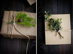 plain brown wrapping with just a little sprig of greenery