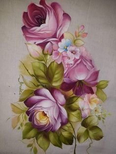 China Painting, Tole Painting, Fabric Painting, Fabric Art, Decoupage Vintage, Decoupage Paper, Flower Frame, Flower Art, Craft From Waste Material
