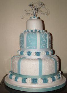 blue gold and white wedding cake | blue wedding cakes ideas