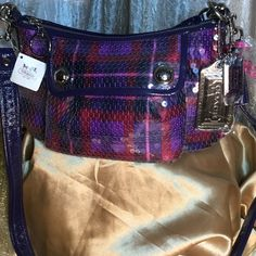 "New Coach Purple Bag New with tag collectors bag.  Stunning,  lush, and lux !  Be Fabulous,  be creative and don't care what others think.  You are precious as a jewel and this bag is for you.  12"" by 6"" Retail 258.00. Coach Bags Shoulder Bags"