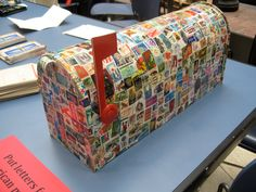 Stamp-covered mailbox at a National Postal Museum event. (From postmuse.blogspot.com)