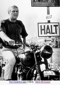 Steve McQueen in The Great Escape!!! His motorcycle stunts were killer! This guy is so cool in this show!