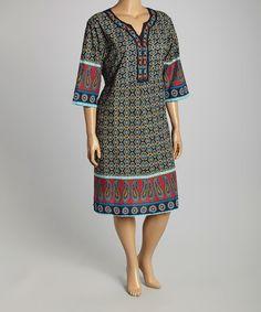 Another great find on #zulily! Navy Arabesque Dress - Plus #zulilyfinds