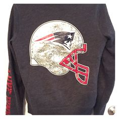 PINK New England Patriots fur lined hoodie, small Super comfy! Victoria's Secret PINK- New England Patriots fur lined hoodie with bling helmet on back. PINK Victoria's Secret Tops Sweatshirts & Hoodies