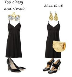 """Defining personal style while balancing """"classic"""": don't do the basic dress with the basic accessories. Choose some interesting shoes, a differently shaped earring, and some texture in your bag to spice up that LBD. So fun and easy!"""