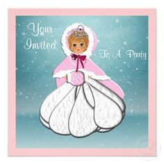 Just the thing for any little girl these cute pink snow princess party invitations all ready for you to personalize with your details