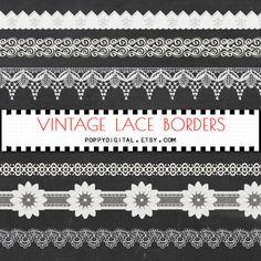 Vintage Lace Borders Digital Clipart - Instant Download {lace borders, lace clipart, clip art, digital lace, lace clipart, lace digital}