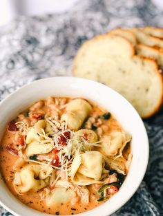 An easy Tuscan Tortellini Soup recipe that will warm you to your bones. This savory soup will quickly became a cold weather favorite at your house! Fall Dinner Recipes, Fall Recipes, Tuscan Recipes, Dinner Ideas, Fall Meals, Sicilian Recipes, Crockpot Recipes, Cooking Recipes, Healthy Recipes
