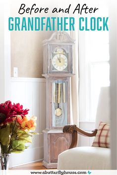 A particleboard grandfather clock gets a makeover in this easy but nerve-wracking DIY! #furnituremakeover #furnitureflip Diy Furniture Flip, Thrift Store Furniture, Simple Furniture, Fine Furniture, Furniture Makeover, Furniture Projects, Decor Crafts, Diy Home Decor, Butterfly House