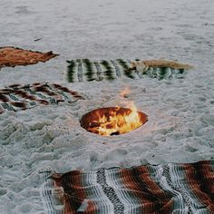 Fire Pit in Sandy Beach with Blankets