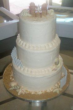 Beach wedding cake by christiescakery
