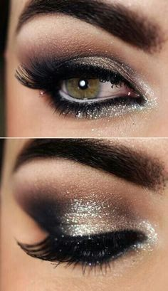 prom makeup for hazel eyes and gold dress
