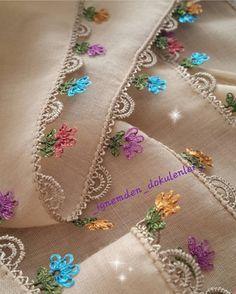 İğne oyaları Needle Tatting, Needle Lace, Needle And Thread, Crochet Trim, Crochet Lace, Crochet Borders, Crochet Patterns, Yarn Crafts, Diy And Crafts