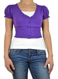143Fashion Ladies Fashion V-Neck Button Down Cardigan, Purple, Large