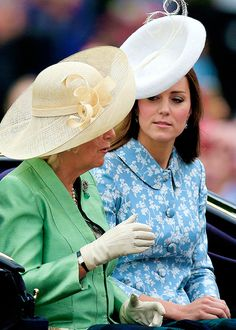 The Duchess of Cornwall and the Duchess of Cambridge leave Buckingham Palace to attend 'Trooping the Colour' at Horse Guards Parade, London - June 13, 2015