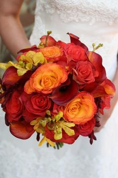Wedding, Bouquet, Red, Orange, Wine country flowers - Project Wedding