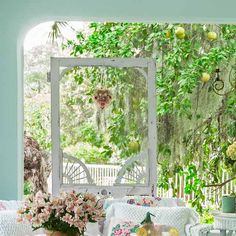 37 tips for making yard welcoming.upgrade outdoor room, porch with vintage-style wicker furniture and salvaged screen door as decoration Outdoor Rooms, Outdoor Living, Outdoor Decor, Rustic Outdoor, Porches, Garden Structures, Outdoor Structures, Vintage Screen Doors, Bistro Set