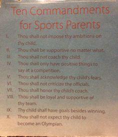 Ten Commandments for sports parents