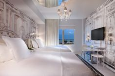 Premier Ocean View Suite at Miami's SLS Hotel South Beach. Designed by Philippe Starck and inspired by the legendary Madame de Pompadour.