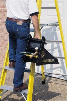 The PiViT Ladder Tool is the ultimate extension ladder leveler. This ladder leveler is a must have for any extension ladder owners. Small Shed Plans, Small Sheds, Ladder Leveler, Ladder Stabilizer, Ladder Accessories, Roof Replacement Cost, Ladder Stands, Build Your Own Shed, Asphalt Roof Shingles