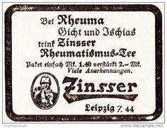 Original-Werbung/ Anzeige 1941 - ZINSSER RHEUMATISMUS - TEE - LEIPZIG -  ca. 50…