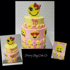 Emoji Cake!! Buttercream cake with pink and yellow rosettes. Emoji's are made from fondant. Only happy emoji's!