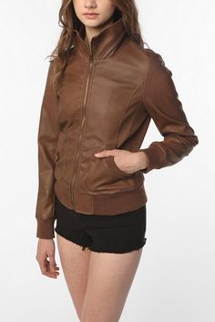 Sparkle & Faded Faux Leatherette Mock-Neck Bomber Jacket