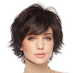 Styler Natural Short Wigs for Women Human Hair Color 6 Brown >>> Be sure to check out this helpful article. #HairWigs