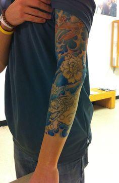 Japanese blue waves tattoo sleeve