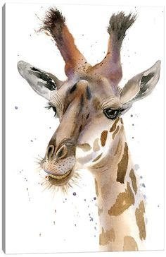 Canvas Art by Olga Shefranov | iCanvas Watercolor Animals, Watercolour, Asian Landscape, Original Paintings, Original Art, Giraffe Art, Print Artist, Animals For Kids, Lovers Art