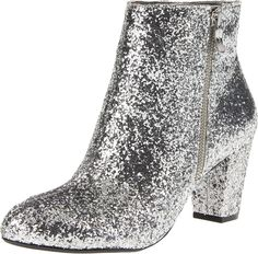 Women's BCBGeneration Charm Silver Party Glitter Ankle Boot #BCBGeneration #FashionAnkle #SpecialOccasion