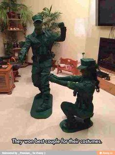 Relationship goals best Halloween couple costume green toy soldier