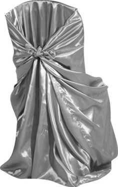 Silver Satin Self Tie Chair Cover