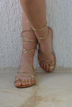 Greek Leather lace-up Sandals Gold from BlueDrop on Etsy