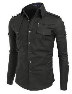 $27.99 Doublju Mens Front Yoke Detail Long Sleeve Shirts (KMTSTL014)