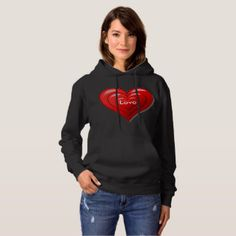 Black Basic Hooded Sweatshirt with Red Heart
