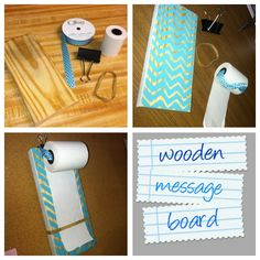 Wooden message board:  small pc of wood, calculator paper roll, binder clip, thick rubber band, ribbon/string. Very simple project!!