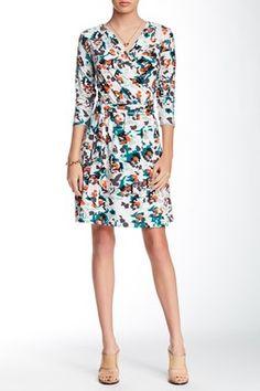 Lilla P Printed Jersey Wrap Dress