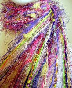 "All Fringe Knotted Scarf Womens Scarves -""Watercolor Pansies"" - lavender, purple, yellow, green, pink- fiber art scarf on Wanelo"