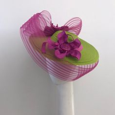 Stunning one of a kind lime green and bright pink derby hat Proudly handmade with love and top quality materials in Auckland New Zealand Custom orders warmly welcomed Fancy Hats, Wide-brim Hat, Pink Hat, Derby Hats, Ascot, Kentucky Derby, Claire, Etsy Shop, Trending Outfits
