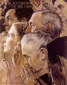 Norman Rockwell Freedom to Worship oil painting for sale; Select your favorite Norman Rockwell Freedom to Worship painting on canvas or frame at discount price. Peintures Norman Rockwell, Norman Rockwell Art, Norman Rockwell Paintings, Norman Rockwell Four Freedoms, Grandma Moses, The Saturdays, Freedom Of Religion, Freedom Art, Freedom Of Speech