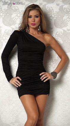 Sleek One Sleeve Open Shoulder Ruched Mini Dress