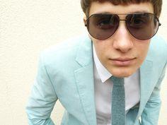 Men's Knitted Necktie Caspian Blue - Mod Skinny Knit Tie #fashion