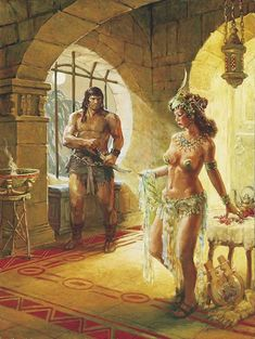 Conan the Barbarian illustration -- title and artist unknown Fantasy World, Dark Fantasy, Arte Do Pulp Fiction, Serpieri, Arte Dc Comics, Conan The Barbarian, Sword And Sorcery, Illustration, Fantasy Warrior