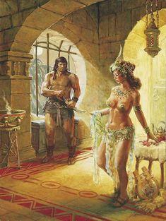 Conan the Barbarian illustration -- title and artist unknown Fantasy Warrior, Fantasy Rpg, Fantasy Artwork, Fantasy World, Dark Fantasy, Arte Do Pulp Fiction, Serpieri, Arte Dc Comics, Conan The Barbarian