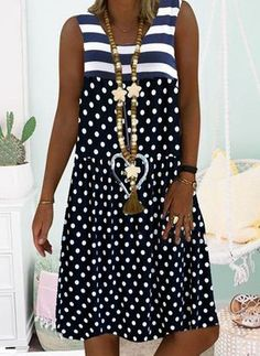 General Blue Day Dresses Polyester Casual Round Neckline Spring Summer A-line Dress Sleeveless S M Polka Dot Knee-Length L XL XXL Dress color:Dark Blue Linen Dresses, Day Dresses, Dresses Online, Casual Dresses, Fashion Dresses, Summer Dresses, Short Sleeve Dresses, Clothes For Women, Polka Dot