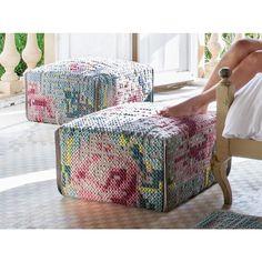 Canevas Flower Pouf Teal Bohemian Furniture, Rug Texture, Leather Furniture, Modern Bohemian, Decoration, Boho Decor, My Dream Home, Cross Stitch Embroidery, Wool Felt