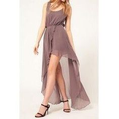 #trendsgal.com - #Trendsgal Scoop Neck Sleeveless Asymmetrical Chiffon Dress - AdoreWe.com